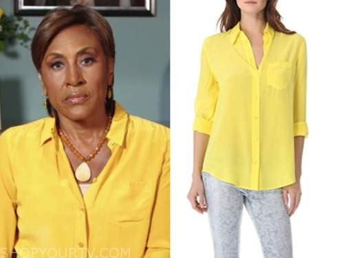 good morning america, robin roberts, yellow shirt