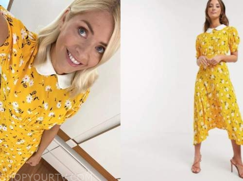 holly willoughby, this morning, yellow floral midi dress