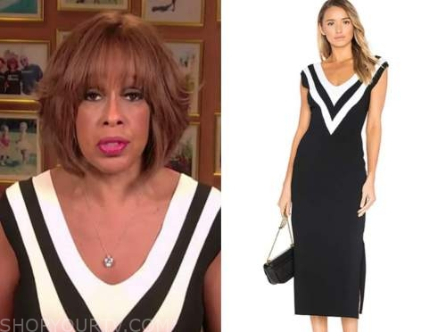 cbs this morning, gayle king, black and white knit dress