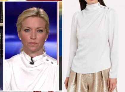 ainsley earhardt, fox and friends, white button blouse