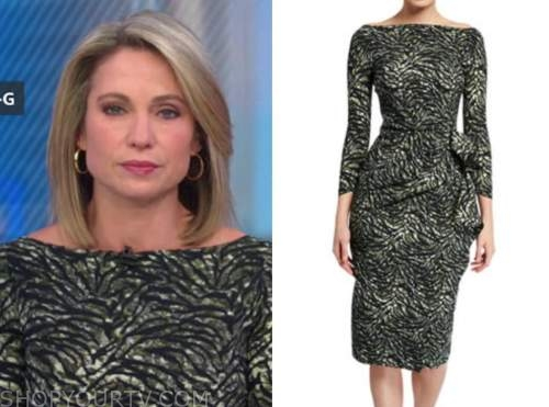 amy robach, good morning america, green animal print dress