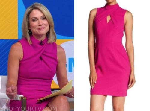 good morning america, amy robach, pink twist dress