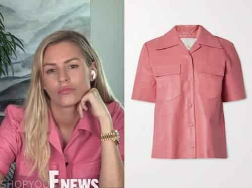 morgan stewart, E! news, daily pop, pink leather shirt