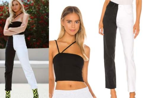 haley ferguson, the bachelor, black crop top, black and white jeans