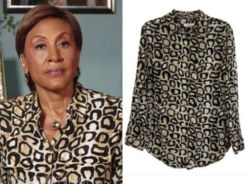 robin roberts, good morning america, leopard shirt