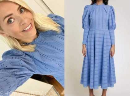 holly willoughby, this morning, blue eyelet midi dress