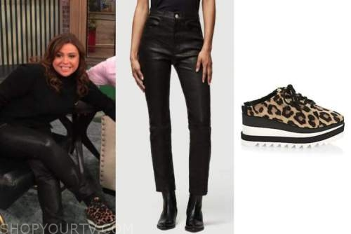 the rachael ray show, rachael ray, black leather pants, leopard sneakers