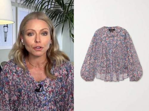 kelly ripa, live with kelly and ryan, pink and blue printed blouse
