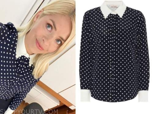 holly willoughby, this morning, polka dot blouse