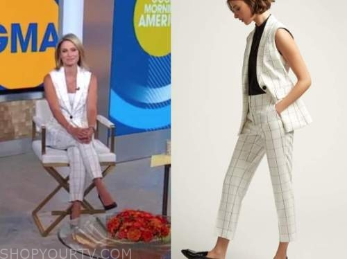 amy robach, good morning america, white grid vest and windowpane pants