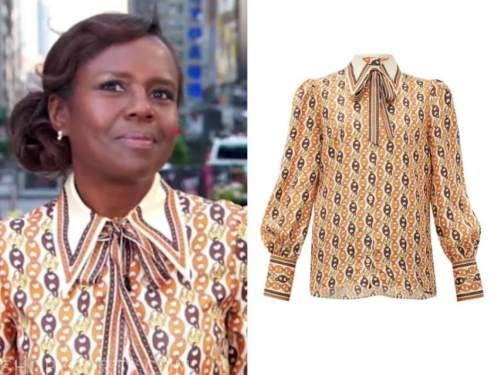 deborah roberts, good morning america, orange chain print blouse