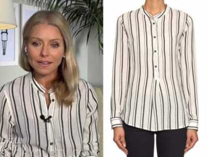 kelly ripa, live with kelly and ryan, black and white striped shirt