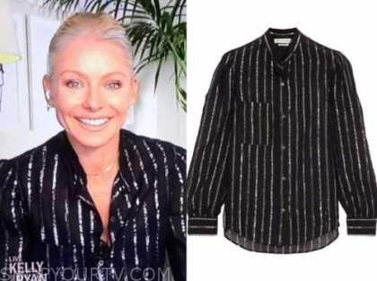 kelly ripa, live with kelly and ryan, black metallic stripe blouse