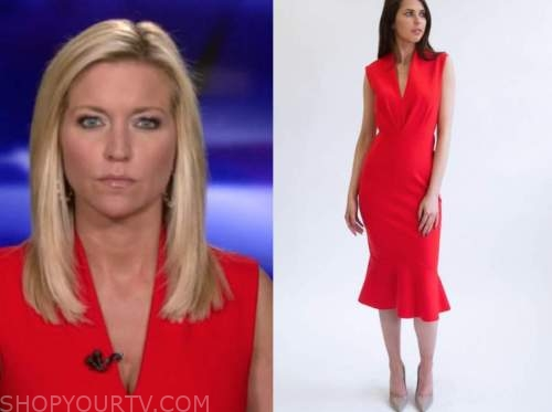 ainsley earhardt, fox and friends, red midi dress