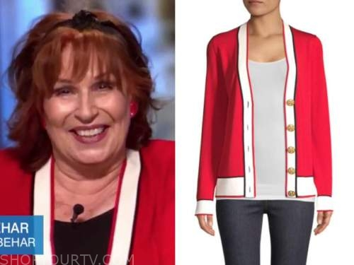 joy behar, the view, red and white contrast trim cardigan sweater