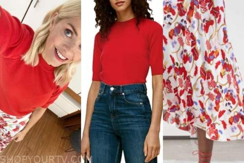 holly willoughby, this morning, red short sleeve sweater, red and white floral skirt