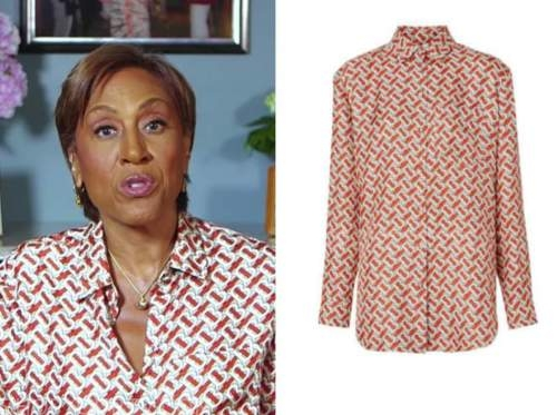robin roberts, good morning america, red and white printed shirt