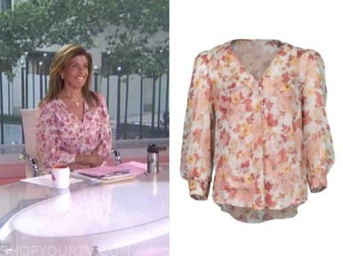 the today show, hoda kotb, pink floral v-neck blouse