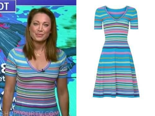 ginger zee, good morning america, blue stripe knit dress