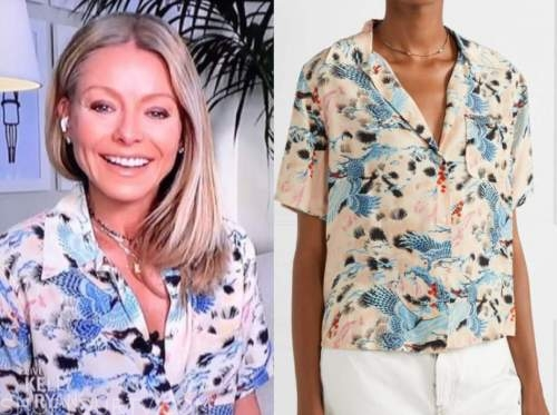 kelly ripa, live with kelly and ryan, short sleeve printed shirt