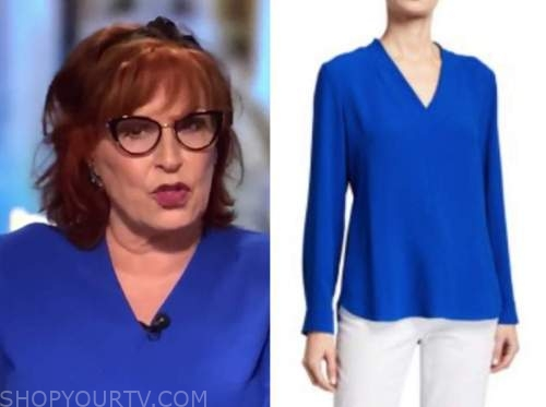 joy behar, the view, blue v-neck top