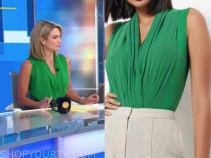 amy robach, green bodysuit top, good morning america
