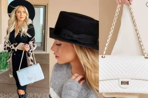 emily ferguson, black hat, white bag , the bachelor