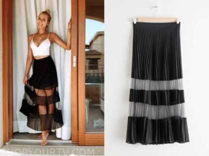 emily ferguson, the bachelor, black mesh stripe midi skirt