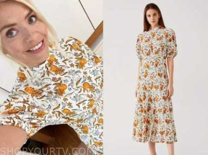 holly willoughby, this morning, orange and white printed mock neck midi dress