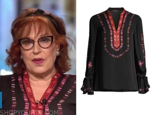 joy behar, the view, black and red printed blouse