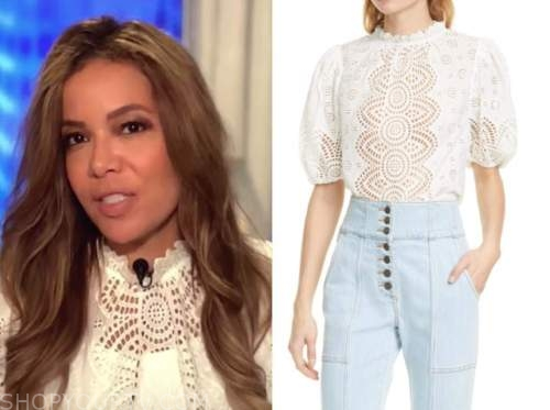 sunny hostin, the view, ivory eyelet top