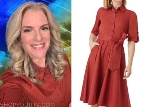 janice dean, fox and friends, rust shirt dress