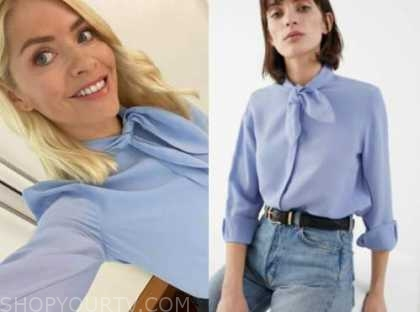 holly willoughby, this morning, blue tie neck blouse