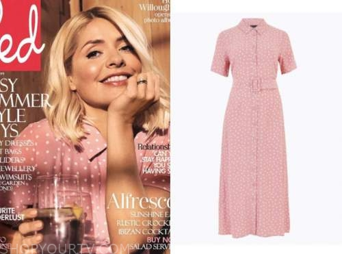 holly willoughby, red magazine, pink polka dot dress