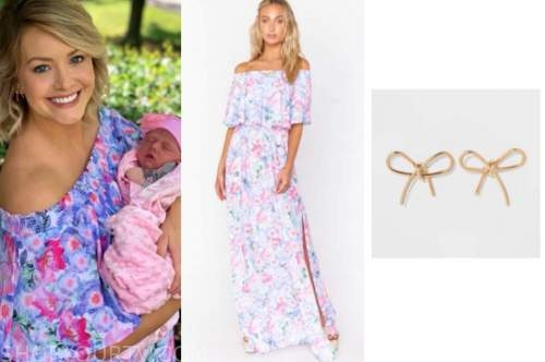 jenna cooper, the bachelor, off-the-shoulder maxi dress, gold bow earrings