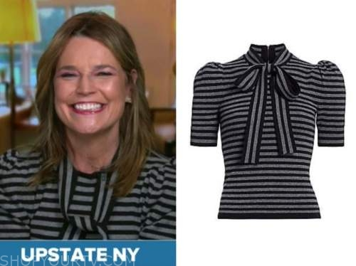 the today show, savannah guthrie, gray and black tie neck top