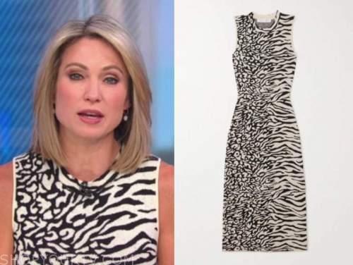 amy robach, black and white animal print dress, good morning america
