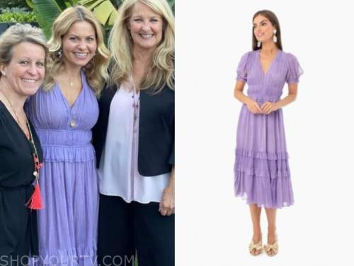 candace cameron bure, purple midi dress,