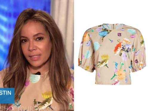 sunny hostin, the view, beige multicolor floral top