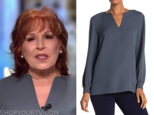 joy behar, the view, grey silk blouse