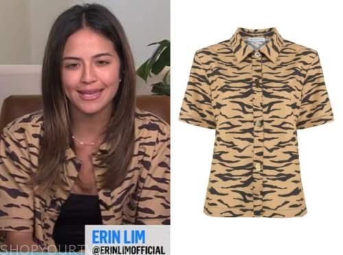 erin lim, E! news, daily pop, tiger print shirt