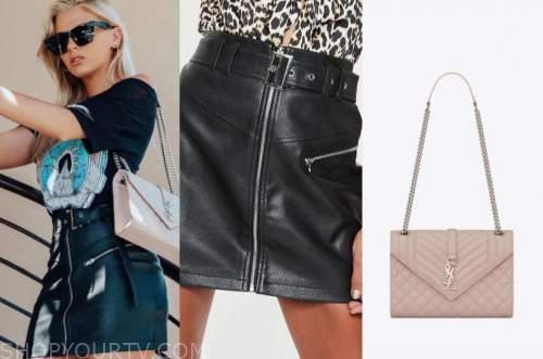 haley ferguson, the bachelor, black leather skirt, beige bag, black sunglasses