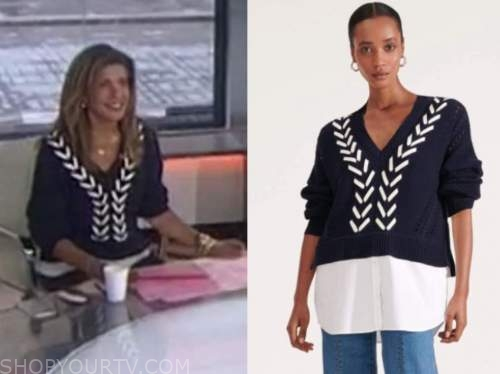 the today show, hoda kotb, navy blue and white stitch sweater