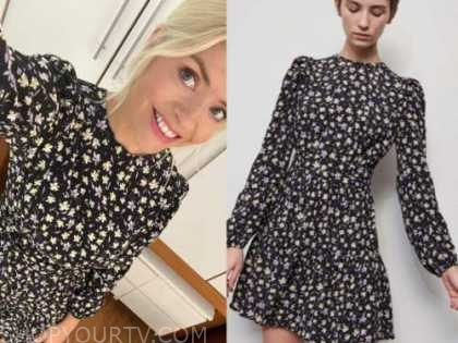 holly willoughby, this morning, black floral long sleeve dress