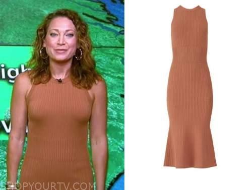 ginger zee, good morning america, tan knit dress