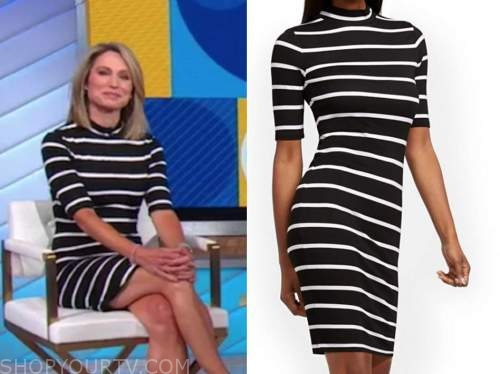 amy robach, good morning america, black and white striped dress