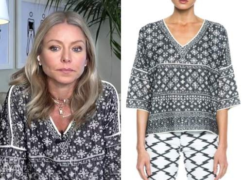 live with kelly and ryan, kelly ripa, black and white printed v-neck top
