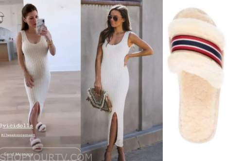 ashlee frazier, ivory ribbed midi dress, fur slides