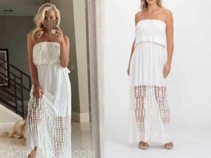 emily ferguson, the bachelor, white strapless maxi dress