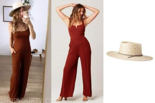 tenley molzahn, the bachelor, brown jumpsuit, straw hat